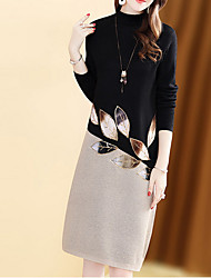 cheap -Women's Sheath Dress - Color Block Black M L XL XXL