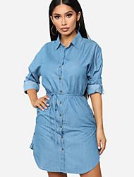 cheap -Women's Light Blue Dress Elegant Sheath Solid Colored Shirt Collar S M