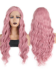 cheap -Synthetic Lace Front Wig Body Wave Side Part Lace Front Wig Long Pink Synthetic Hair 18-26 inch Women's Heat Resistant Synthetic Easy dressing Pink / Natural Hairline