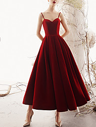 cheap -A-Line V Neck Ankle Length Polyester Sleeveless Romantic Plus Size / Red Wedding Dresses with Draping 2020
