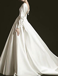 cheap -A-Line V Neck Court Train Satin Long Sleeve Formal Plus Size / Modern / Elegant Wedding Dresses with Draping 2020