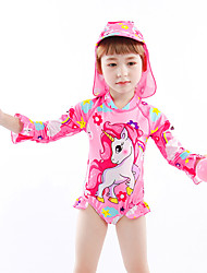 Недорогие -Дети Дети (1-4 лет) Девочки Активный Классический Unicorn Геометрический принт С принтом Купальник Розовый