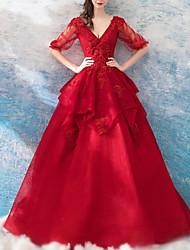 abordables -Trapèze Col en V Longueur Sol Dentelle / Tulle Demi Manches Habillées Rouge Robes de mariée sur mesure avec Appliques / Insert de Dentelle 2020