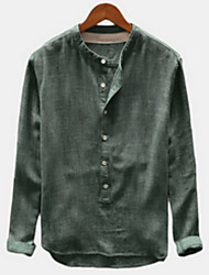cheap -Men's Daily Shirt - Solid Colored Green