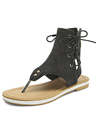 cheap -Women's Sandals Flat Heel Round Toe Rivet Denim Casual Summer Black / Royal Blue / Dark Blue