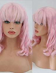cheap -Synthetic Lace Front Wig Wavy With Bangs Lace Front Wig Pink Short Pink Synthetic Hair 10-16 inch Women's Cosplay Soft Adjustable Pink