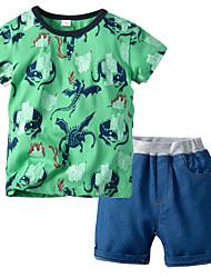 cheap -Kids Boys' Basic Christmas Home Print Cartoon Print Long Sleeve Regular Regular Clothing Set Green