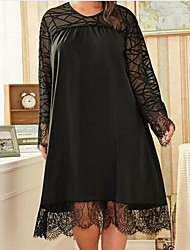 cheap -Women's Sheath Dress - Solid Colored Black XL XXL XXXL XXXXL