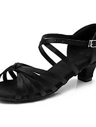 cheap -Women's Latin Shoes / Salsa Shoes Satin Buckle Heel Buckle Thick Heel Customizable Dance Shoes Black / Brown / Leopard