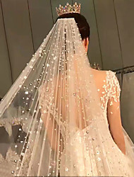 cheap -One-tier Pearl Trim Edge / Lace Wedding Veil Cathedral Veils with Faux Pearl 118.11 in (300cm) POLY