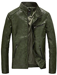 cheap -Men's Daily Fall & Winter Regular Jacket, Solid Colored Stand Long Sleeve PU Black / Army Green / Yellow
