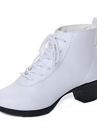 cheap -Women's Dance Boots PU Heel Thick Heel Dance Shoes Black / White / Red