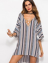 cheap -Women's Loose Dress - Stripes Black White Blue M L XL XXL