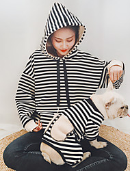 cheap -Dog Cat Costume Jumpsuit Matching Outfits Winter Dog Clothes Warm Black Red Coffee Costume Bulldog Bichon Frise Schnauzer Cotton Striped Stripes Casual / Sporty Women M S M L XL XXL