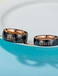 Недорогие -Для пары Кольцо 2pcs Золотой Титан Массивный Классика европейский Свадьба Обручение Бижутерия Буквы