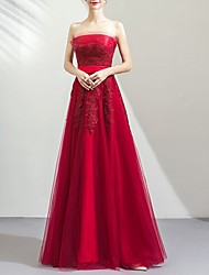 cheap -A-Line Strapless Floor Length Tulle Strapless Romantic Plus Size / Red Wedding Dresses with Bow(s) / Embroidery 2020