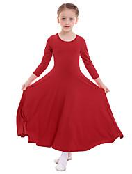 cheap -Kids' Dancewear Dresses Girls' Performance / Daily Wear Milk Fiber Pleats Long Sleeve Natural Dress