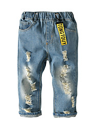 cheap -Kids Toddler Boys' Basic Street chic Solid Colored Hole Jeans Blue