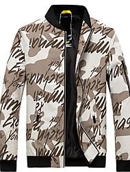 cheap -Men's Daily Fall & Winter Regular Jacket, Geometric Stand Long Sleeve Polyester Yellow / Blue / Gray