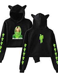 cheap -Inspired by Cosplay Billie Eilish Cosplay Costume Crop Top Hoodie Cotton Fibre Print Printing Hoodie For Women's