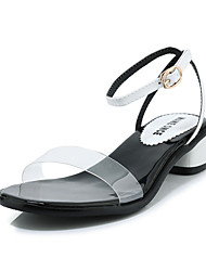 cheap -Women's Sandals Transparent Shoes Chunky Heel Open Toe Buckle PU Preppy / Minimalism Spring & Summer White / Black / Beige / Party & Evening / Color Block / Party & Evening