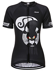 cheap -21Grams Cat Animal Women's Short Sleeve Cycling Jersey - Black / White Bike Jersey Top Breathable Quick Dry Moisture Wicking Sports Terylene Mountain Bike MTB Clothing Apparel / Micro-elastic