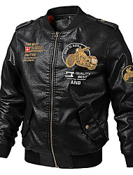cheap -Men's Daily Fall & Winter Regular Leather Jacket, Letter Stand Long Sleeve PU Black / Army Green / Brown