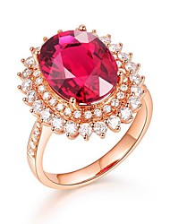 cheap -Women's Ring Garnet 1pc Rose Gold Platinum Plated Alloy Stylish Daily Jewelry Cute