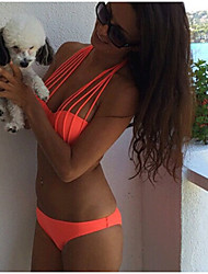 cheap -Women's Basic Orange Halter Cheeky Bikini Tankini Swimwear - Solid Colored S L XL Orange