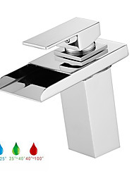 cheap -Bathroom Sink Faucet - LED / Waterfall Chrome Centerset Single Handle One HoleBath Taps