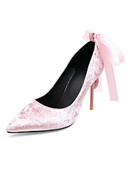 cheap -Women's Wedding Shoes Stiletto Heel Pointed Toe Rhinestone / Bowknot Suede Business / Classic Spring & Summer Black / Red / Pink / Party & Evening