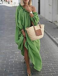 cheap -Women's Maxi Loose Dress - Long Sleeve Solid Color Off Shoulder Loose Green M L XL XXL XXXL