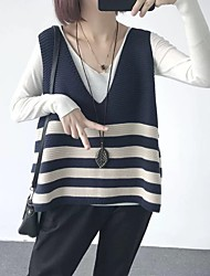 cheap -Women's Striped Sleeveless Vest Sweater Jumper, V Neck Summer / Fall Black / Yellow / Blue XS / S / M
