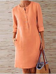 cheap -Women's Elegant Shift Dress - Solid Colored White Orange Dark Gray S M L XL