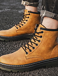 cheap -Men's Comfort Shoes Suede Fall & Winter Boots Booties / Ankle Boots Black / Camel