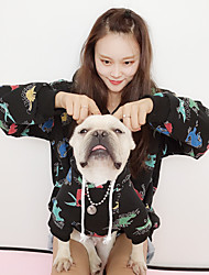 cheap -Dog Cat Costume Hoodie Matching Outfits Cartoon Quotes & Sayings Leisure Animal Sports Casual / Daily Winter Dog Clothes Puppy Clothes Dog Outfits Warm Black Costume for Girl and Boy Dog Plush Women