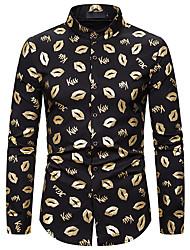 cheap -Men's Shirt Geometric Long Sleeve Daily Tops Standing Collar Silver Gold White