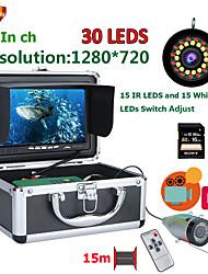 abordables -F7AD-2L-15M DVR Fish Finder Caméra de pêche sous-marine HD 1280 * 720 Screen15pcs White Leds15pcs Lampe infrarouge 1080p 15m Camera for Fishing 16GB Recoding