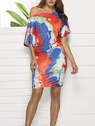 cheap -Women's Date Street T-shirt Sleeve Sheath Dress - Tie Dye Rainbow S M L XL