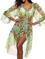 abordables -Femme Basique Vert Vêtement couvrant Maillots de Bain - Fleur Géométrique Imprimé Taille unique Vert