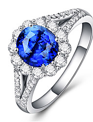 cheap -Women's Ring Synthetic Sapphire 1pc Silver Platinum Plated Alloy Stylish Daily Jewelry Cute