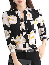 cheap -Women's Plus Size Geometric Blouse Holiday Going out V Neck White / Black / Yellow / Light Blue
