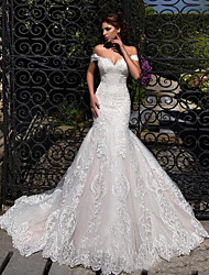 cheap -Mermaid / Trumpet Off Shoulder Court Train Lace Strapless Formal / Simple / Casual Wedding Dresses with 2020