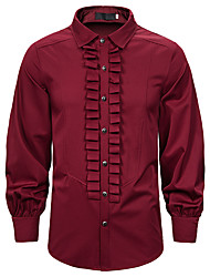 cheap -Men's Party Daily Punk & Gothic Shirt - Solid Colored Black
