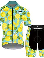 Недорогие -21Grams Муж. С короткими рукавами Велокофты и велошорты Черный / желтый Фрукты Лимонный Велоспорт Наборы одежды Устойчивость к УФ Дышащий 3D-панель Быстровысыхающий Со светоотражающими полосками