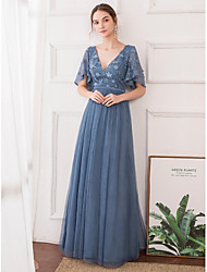 cheap -A-Line V Neck Floor Length Tulle Empire / Blue Wedding Guest / Prom Dress with Pleats / Appliques 2020