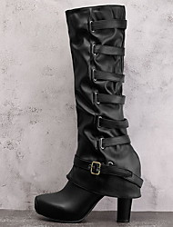 cheap -Women's Boots Chunky Heel Round Toe PU Mid-Calf Boots Fall & Winter Black / Army Green