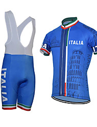 cheap -21Grams Men's Short Sleeve Cycling Jersey with Bib Shorts Sky Blue Italy Bike Clothing Suit UV Resistant Breathable 3D Pad Quick Dry Reflective Strips Sports Italy Mountain Bike MTB Road Bike Cycling