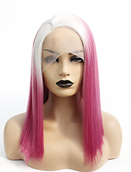 cheap -Synthetic Lace Front Wig Straight Gaga Middle Part Lace Front Wig Medium Length Ombre Red Synthetic Hair 14-16 inch Women's Heat Resistant Women Hot Sale Red Ombre / Glueless