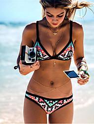 cheap -Women's Basic Black Triangle Cheeky Bikini Swimwear Swimsuit - Geometric Tribal Print S M L Black